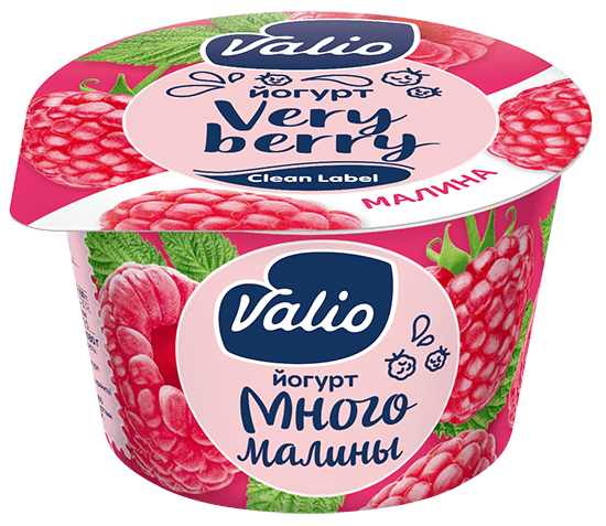 Йогурт Valio с малиной Clean Label®, 2.6 %, 180 г