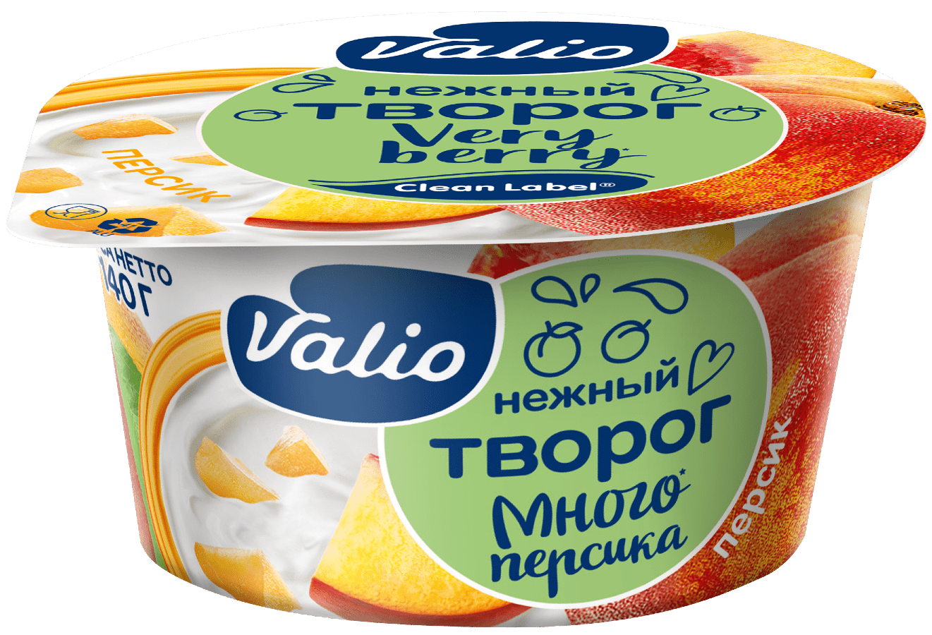 Творог Valio с персиком Clean Label®, 3.5 %, 140 г